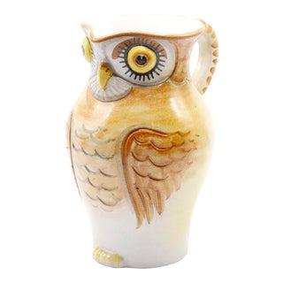 Italian Ceramic Owl Pitcher For Sale