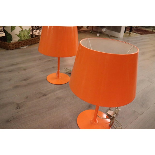 Vintage Orange Lamps - A Pair - Image 4 of 5
