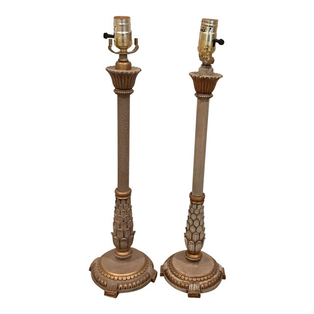 Gilt Candlestick Lamps - A Pair - Image 1 of 8