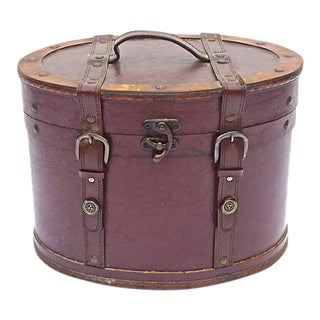 Vintage Leather & Brass Hat Box For Sale