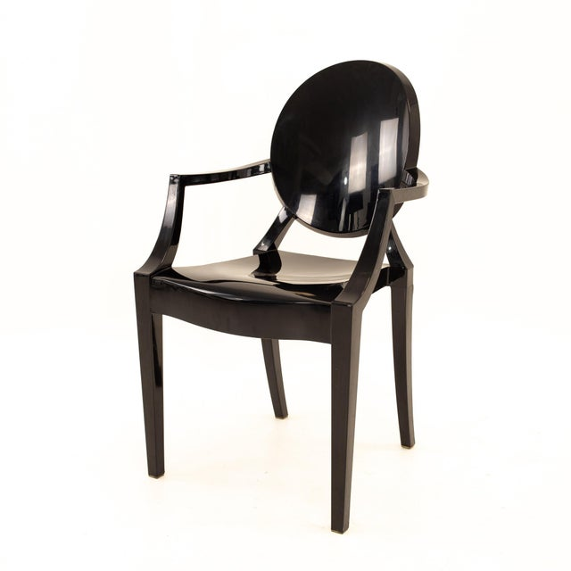 Kartell Mid Century Black Acrylic Ghost Dining Chairs - Set of 4 For Sale - Image 9 of 11