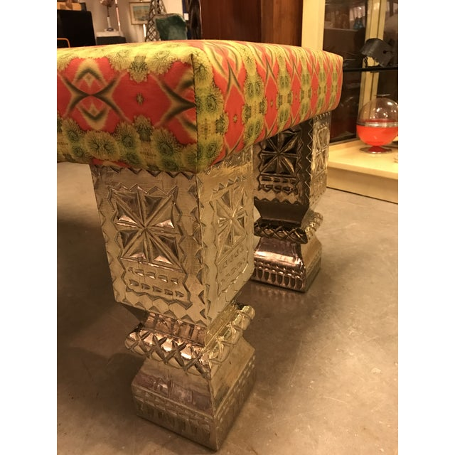 Custom Long Bench With Hand-Chased German Silver Legs and Custom Fabric For Sale In Miami - Image 6 of 9