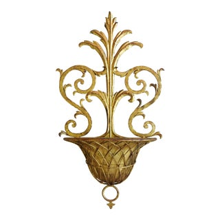 Hollywood Glam 1940s Italian Ornate Gilt Wall Planter For Sale