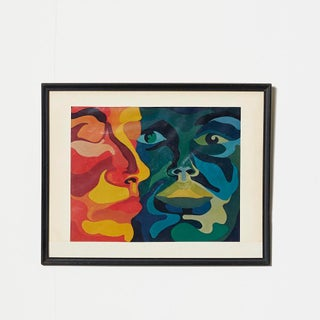 Vintage 1960s Op Art Psychedelic Painting For Sale