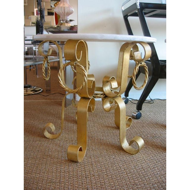 Boho Chic Pair of Vintage Italian Gold Leaf Iron and Marble Top End / Side Tables For Sale - Image 3 of 10