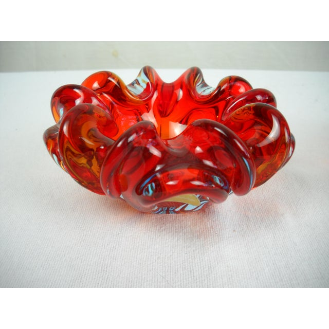Red Folded-Edge Murano Bowls - A Pair For Sale In Orlando - Image 6 of 9