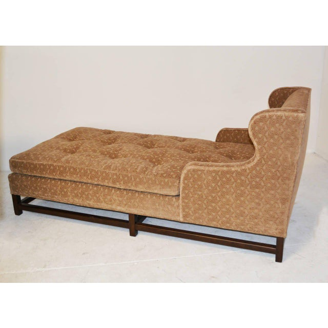 Very comfortable wingback chaise or daybed with square walnut legs and stretchers. Reupholstered in a Rose Tarlow velvet.