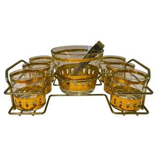 1960s Gilded Culver Bar Set - Set of 9 For Sale