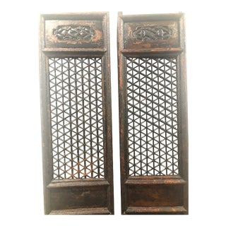 Late 19th Century Black Lacquer Doors-A Pair For Sale