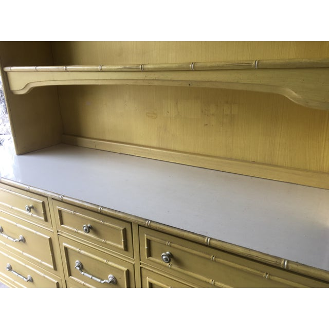 1970s Hollywood Regency Thomasville Faux Bamboo Dresser and Hutch For Sale - Image 11 of 13
