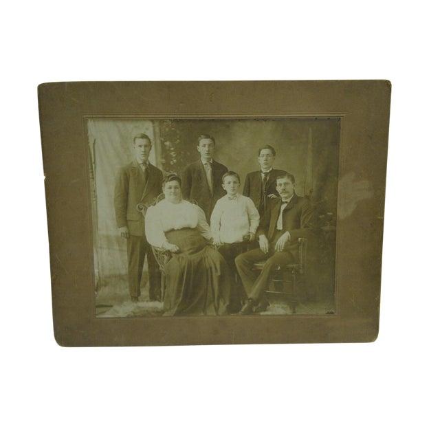 "Vintage 1920s ""Family Portrait"" Mounted Black & White Photograph For Sale"