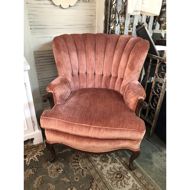 Vintage Rose Velvet Channel Back Wing Chair For Sale - Image 10 of 10