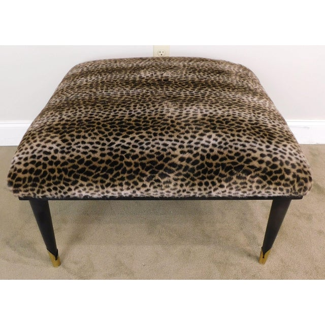 Mid Century Modern Square Cheetah Print Ottoman For Sale In Philadelphia - Image 6 of 13