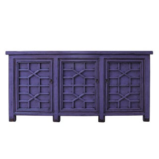 Distressed Purple Lacquer Finish High Credenza Console Buffet Table For Sale