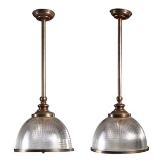Late 20th Century French Industrial Style Holophane Lights - a Pair For Sale