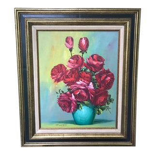 Vintage Floral Still Life Oil Painting of Red & Pink Roses by Moses