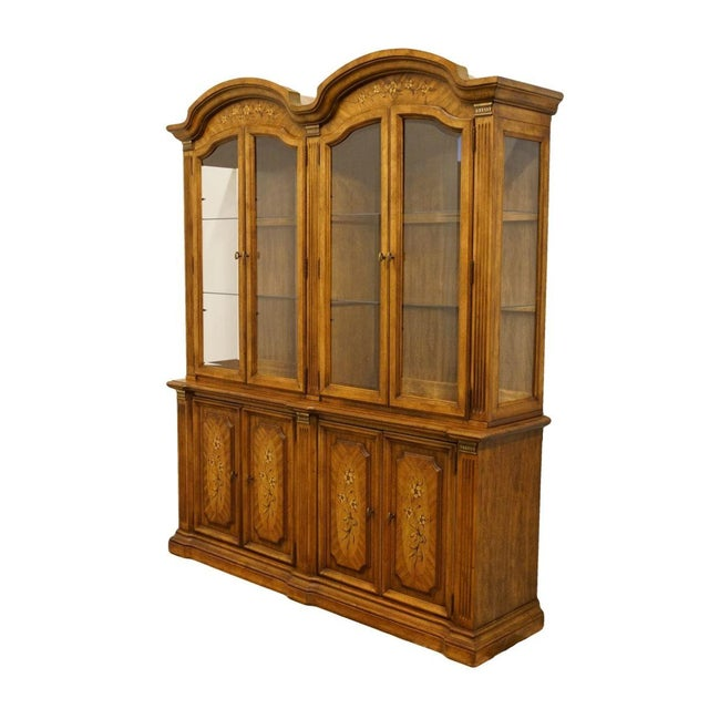 """Italian 20th Century Italian Stanley Furniture 71"""" Buffet with Lighted Display China Cabinet For Sale - Image 3 of 13"""
