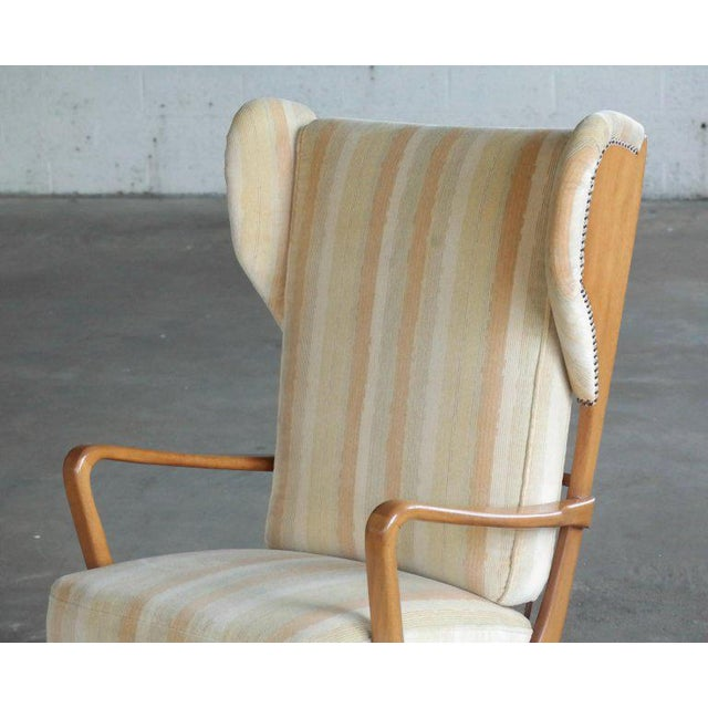 Danish Midcentury Wingback Lounge Chair With Exposed Sides For Sale - Image 9 of 13