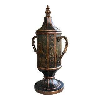 Wooden Antique Lidded Vase With Brass Painted Detail For Sale