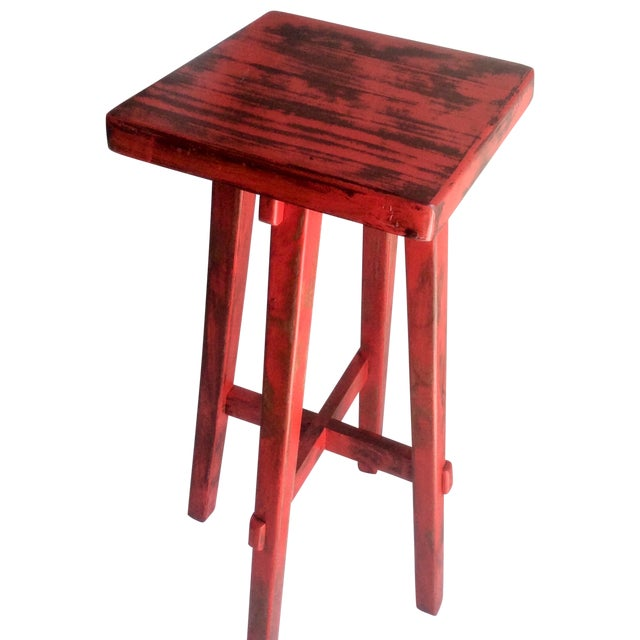Hand Made Distressed Red Square Bar Stool - Image 1 of 9
