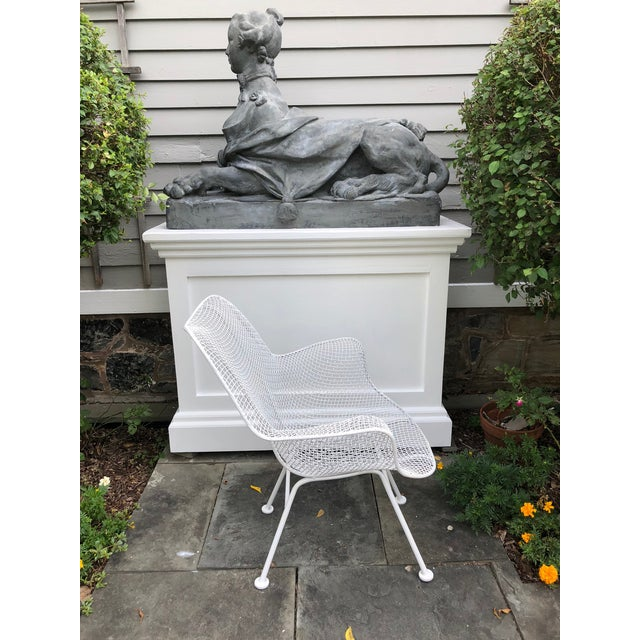 """Metal 1950s Woodard """"Sculptura"""" White Patio Chairs - a Pair For Sale - Image 7 of 14"""