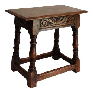 Antique English Elm Pegged Joint Stool Hand Carved For Sale