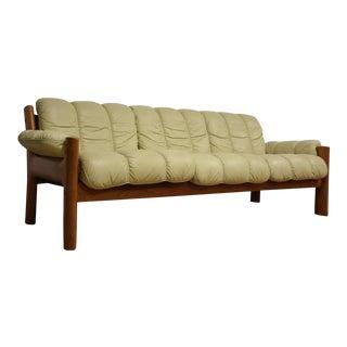 Ekornes White Leather and Teak Sofa