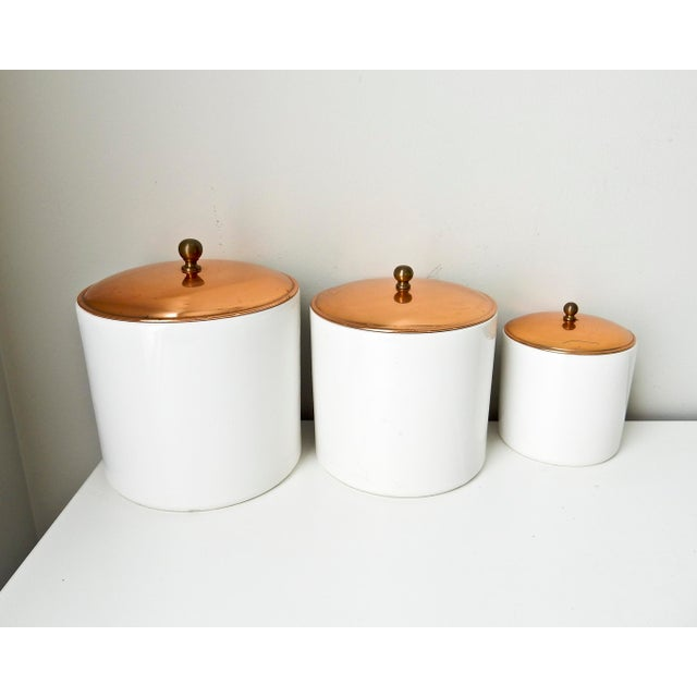 White Canisters with Copper Lids - Set of 3 - Image 2 of 7