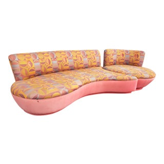 "Rare 80's Vladimir Kagan ""Comet"" Swivel Sectional Sofa For Sale"