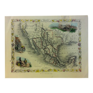 """Color Map on Paper, """"Mexico - California and Texas"""" by John Tallis & Company Publishing For Sale"""
