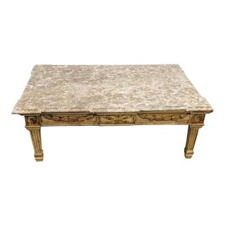 Hollywood Regency William Switzer Marble Top Coffee Table For Sale