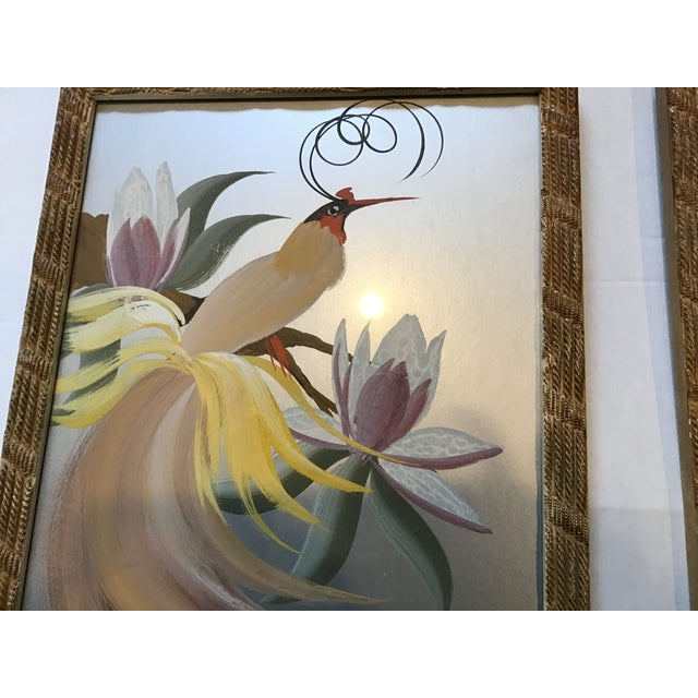 Devo Vintage 20th Century Egret Crane Bird Metallic Art Paintings Signed - a Pair, Framed For Sale - Image 4 of 9