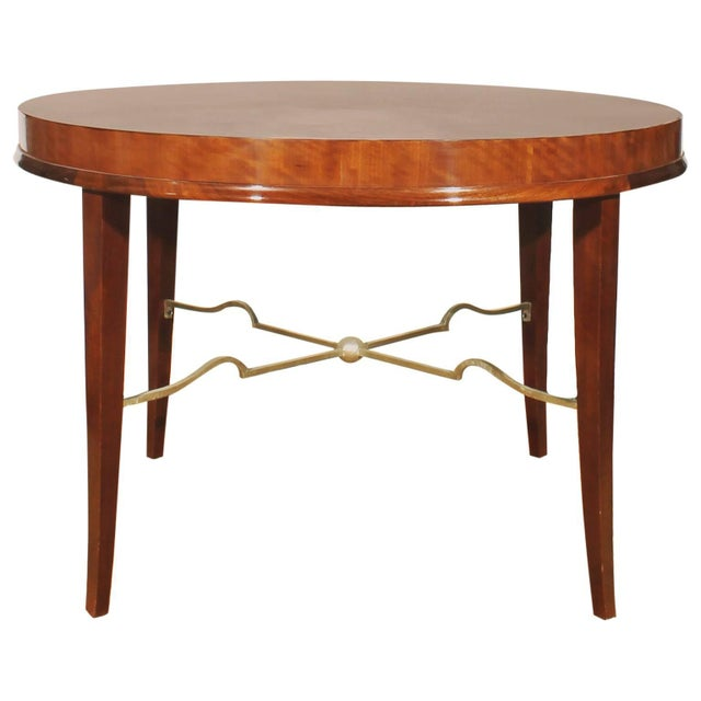 Brown 1940s Round sidetable by De Coene, mahogany, gilded spacer - Belgium For Sale - Image 8 of 8