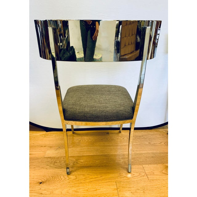 Chrome Klismos Dining Chairs - Set of 6 For Sale In New York - Image 6 of 11