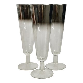 1960s Mid-Century Modern Lusterware Pilsner Glasses - Set of 3 For Sale