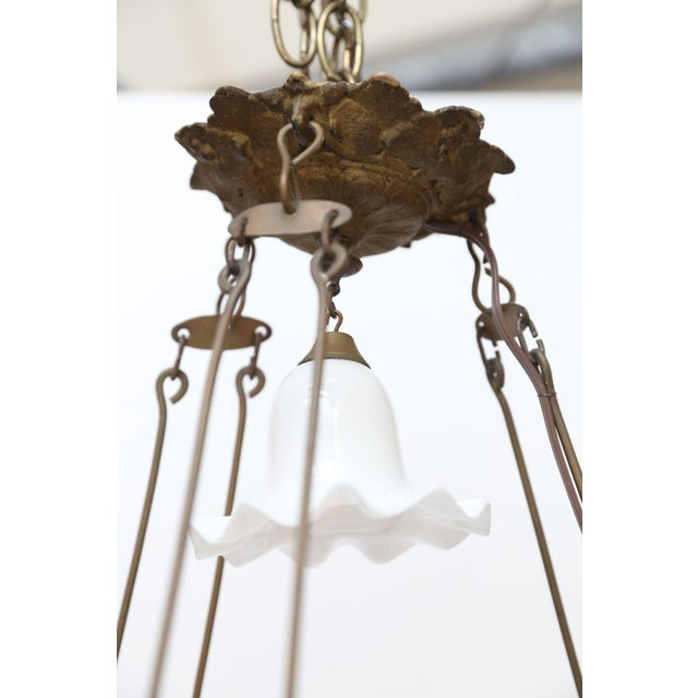 Antique French Milk Glass Hall Lantern For Sale - Image 9 of 11