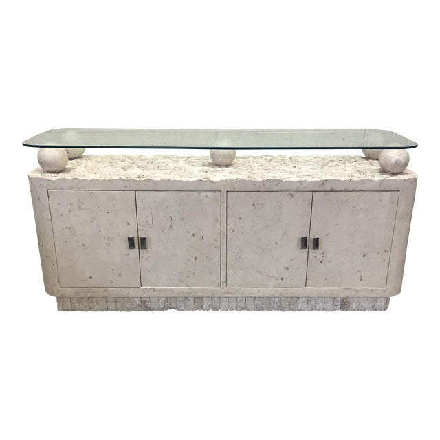 Maitland-Smith Tessellated Stone & Glass Credenza - Image 1 of 11