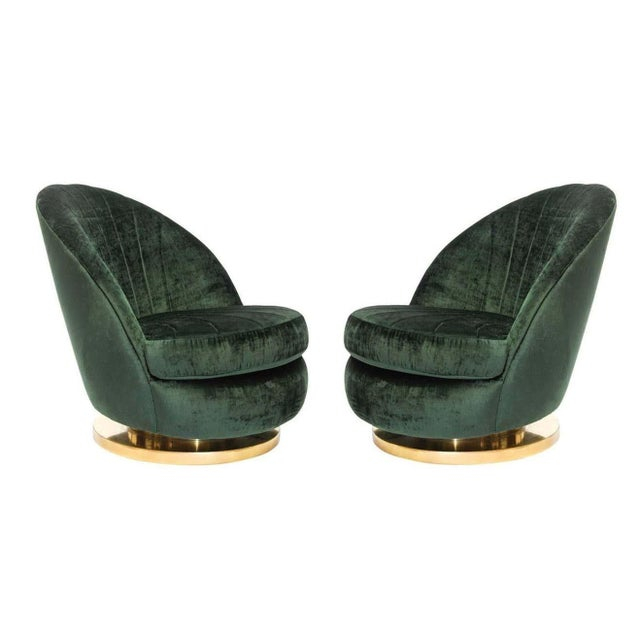 Thayer Coggin Green Milo Baughman Tilt and Swivel Lounge Brass Chairs - A Pair For Sale - Image 4 of 6