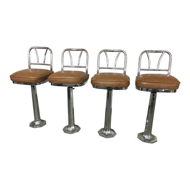 Chrome Soda Fountain Bar Stools - Set of 4 - Image 1 of 9