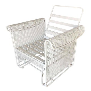 Woodard Mesh Outdoor/Patio Side Glider Rocking Lounge Chair For Sale