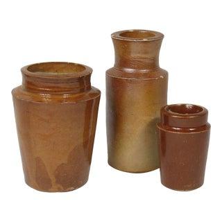 English Earthenware Jars - Set of 3 For Sale