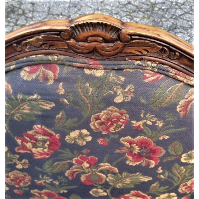 Nice pair of French Provincial Louis XVth style armchairs by Brandywine Design with fabric from Calico Corners. Chairs are...