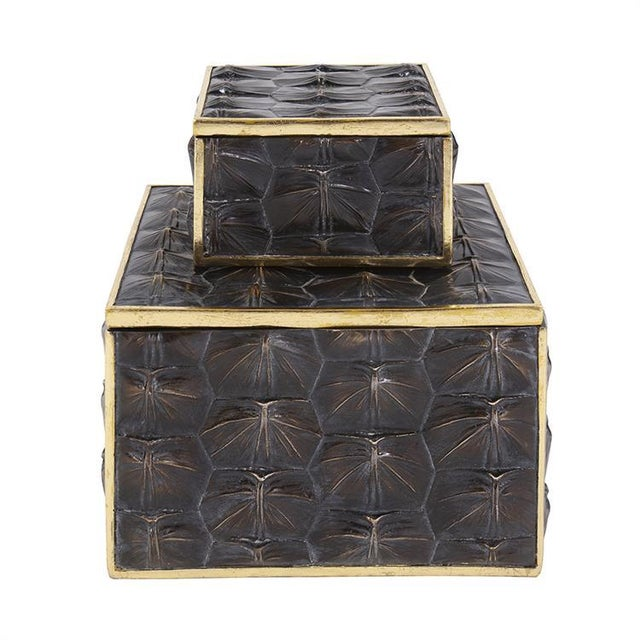 The Tortoise Shell Textured Box, Large This large decorative box is a handsome one. It features the realistic texture of a...