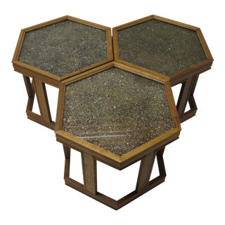 1960s Mid-Century Modern Brown and Saltman End Tables - Set of 3 For Sale