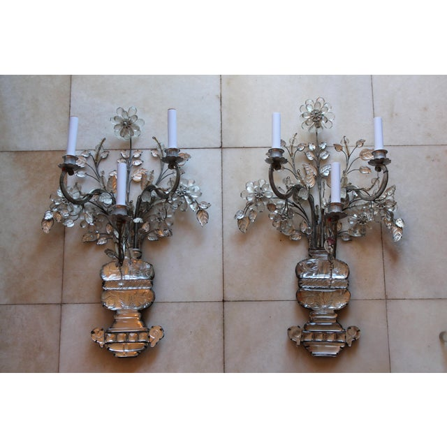 A very rare pair of museum quality Maison Bagues France Antque c1845 Crystal Sconces. 3 lights, signed with a bolted...