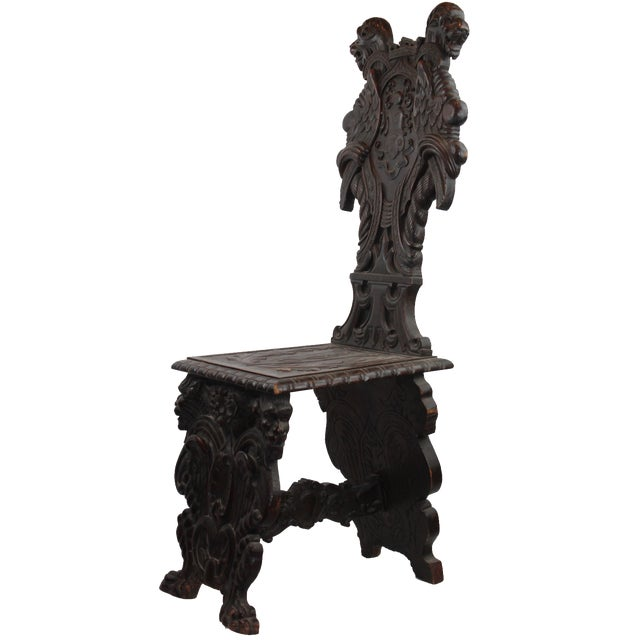 Early 19th Century Antique Italian Pasargad DC Renaissance Carved Wooden Chair For Sale - Image 12 of 12