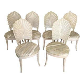 Vintage Carved Shell Back Chairs- Set of 6 For Sale