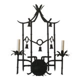 Image of Vintage Hollywood Regency Metal Tole Faux Bamboo Pagoda Bells Wall Light Sconce For Sale