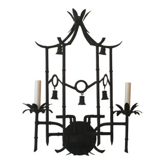 Vintage Hollywood Regency Metal Tole Faux Bamboo Pagoda Bells Wall Light Sconce For Sale
