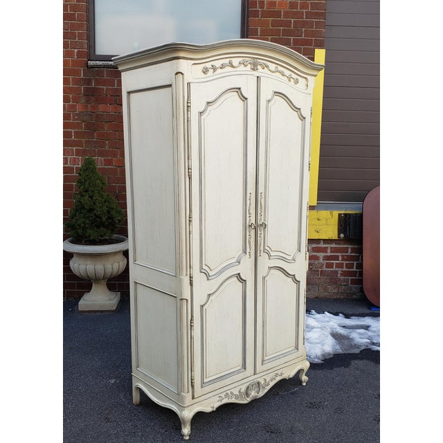 Painted White Century Furniture French Provincial Double Door Bedroom Tv Armoire Cabinet C1990s For Sale In New York - Image 6 of 12